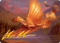 Art Series - Adventures in the Forgotten Realms - Signed: Adult Gold Dragon Art Card (Not Tournament Legal - Signed)
