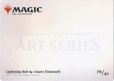 Art Series - Strixhaven: Lightning Bolt Art Card (Not Tournament Legal)